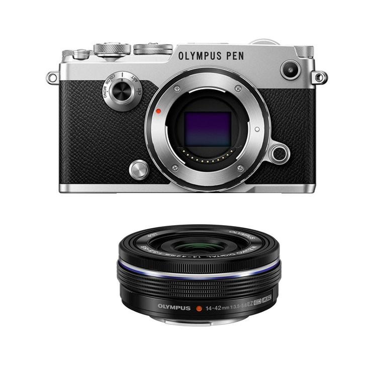 Olympus PEN-F Silver + Black M.Zuiko 14-42mm f/3.5-5.6 EZ Pancake Zoom Kit