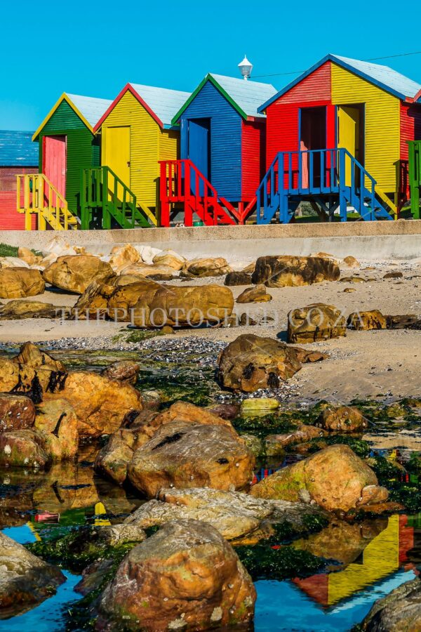 St James huts on th beach