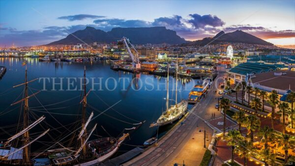 Aerial View of Table Mountain, V&A Waterfront, Cape Town