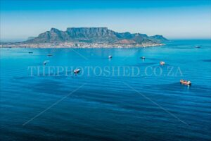 Atlantic ocean with aerial view of Table Bay