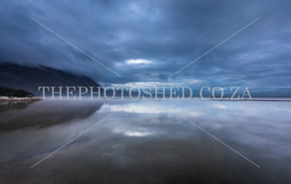 Moody sunrise over Prawn Flats Hermanus lagoon